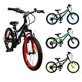 Amigo Attack - Bicicleta Infantil de 20 Pulgadas - para niños de 5 a 9 años - con V-Brakes, 6 velocidades, Timbre y estándar - Negro/Rojo