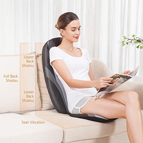 Snailax Shiatsu Massage Cushion with Heat Massage Chair Pad Kneading Back Massager for Home Office Seat use