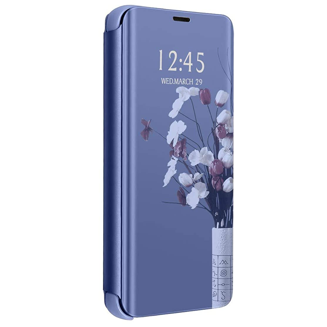 Slim Samsung Galaxy S10 Plus Case, Translucent View Window Front Function Mirror Screen Flip Electroplate Plating Stand Full Body Protective Case for Galaxy S10 Lite (Blue, Samsung Galaxy S10 Lite)