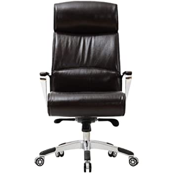 Office Chair Leather Office Swivel Chair High Back Executive Chair Ergonomic Lift Computer Chair (Color : Dark Brwon, Size : 125.5x80x80cm)