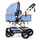 MAMINGBO Cochecito de bebé, viaje ligero del cochecito de niño con errores Cochecito de niño de 5 puntos del arnés de seguridad, for el recién nacido y del niño (Color : Sky Blue)