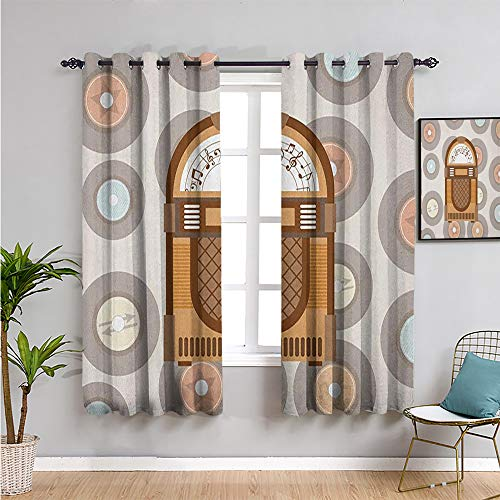 Pcglvie jukebox Fabric curtain, Curtains 84 inch length pick up music with vintage abstract long players backdrop Waterproof Fabric brown pale coffee grey and peach W108 x L84 Inch