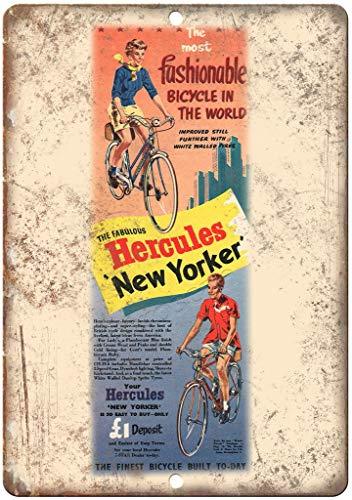 HALEY GAINES Hercules New Yorker Fiets Muur Tin Tekens Decor Metalen Plaques Waarschuwing Notice IJzeren Schilderen Voor Bar Koffie Huis keukens Badkamers Garages 20 * 30cm
