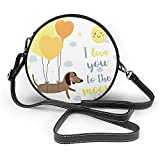 TURFED Hombro con césped PU bolso redondo Perro Te Amo con globos y corazones Concepto Nubes de Sun del perrito de los mejores amigos de cacao Amarillo Gris Crossbody Bolsa