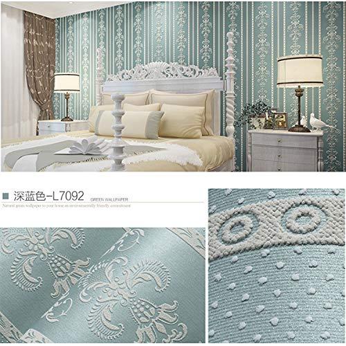 Pastell selbstklebende Tapete Schlafzimmer dicke wasserdichte Tapete Wohnzimmer TV Hintergrund Wandaufkleber 0,53 m * 3 m gestreift blau grün