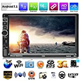 Car Video Player, doppio DIN Android 7.1 Car Multimedia Player GPS Navigator 7 pollici Touch Screen HD 1080P Car Radio Stereo Bluetooth Car MP5 Player con telecomando e controllo del volante