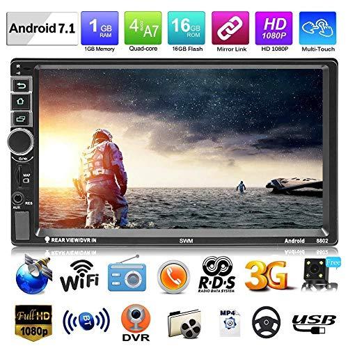 Car Video Player, doppio DIN Android 7.1 Car Multimedia Player GPS Navigator 7 pollici Touch Screen HD 1080P Car Radio Stereo Bluetooth Car MP5 Player con telecomando e controllo del volante
