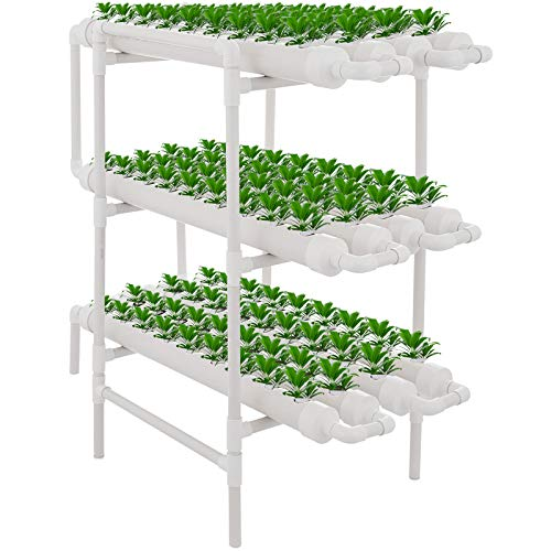 DreamJoy 3 Layers 108 Plant Sites Hydroponic Site Grow Kit 12 Pipes Hydroponic Growing System Water...