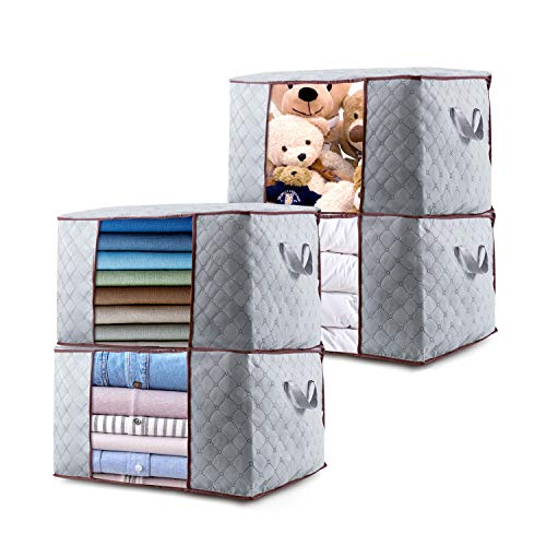Clothes Storage Bag Large Capacity 84L, Closet Organizer Bag with Clear Window for Clothing Blanket Comforter Bedding Sweater,4 Pack