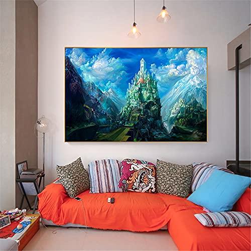 Abstrakte Malerei Große Größe Fantasy Tower Castle Leinwanddrucke Kinderzimmer Dekor Wandkunst Bilder Wohnkultur Cuadros Decoracion 30x45 CM (Kein Rahmen)