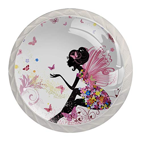 Kids Drawer Knobs Pulls Elegant Girl Butterfly Handles for Nursery Dresser Cupboard Wardrobe Cabinet Kitchen Theme Knobs, Pack of 4 1.38×1.10IN