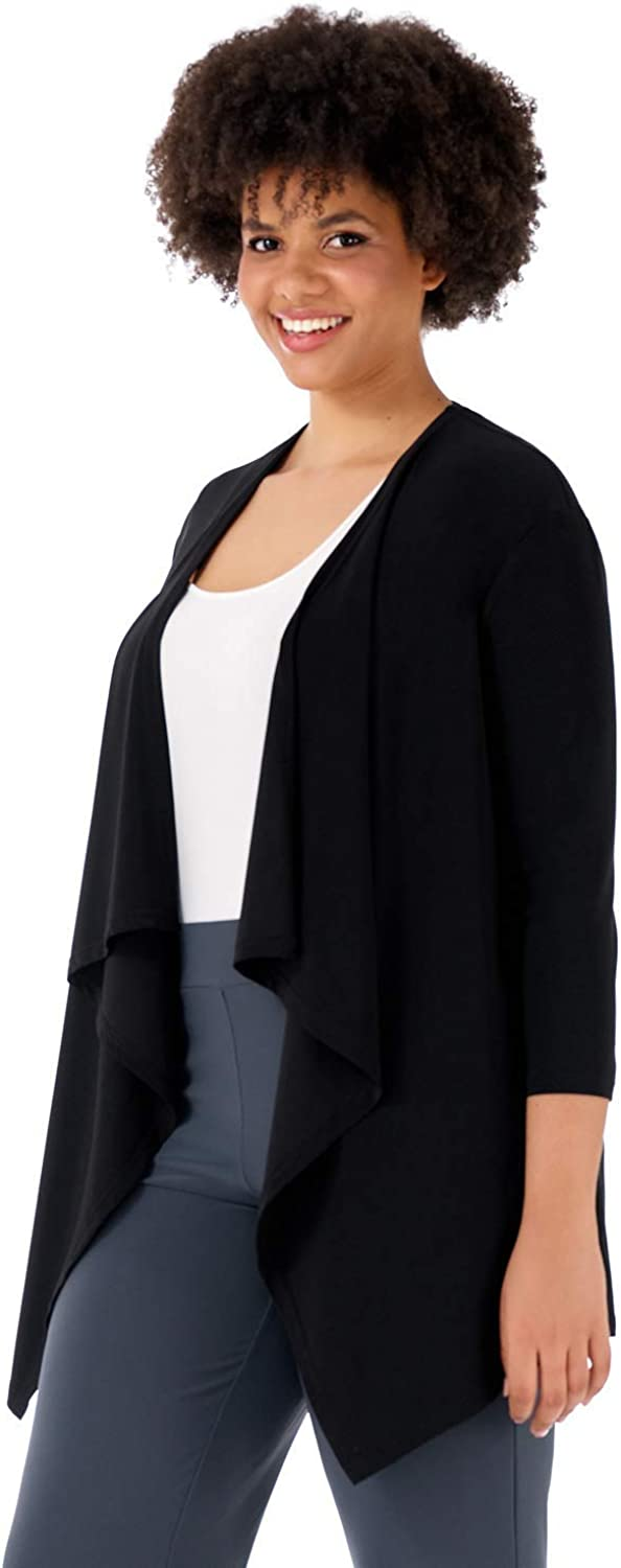 Rekucci Curvy Woman Travel in Style Plus Size Soft Knit Throw Over Jacket