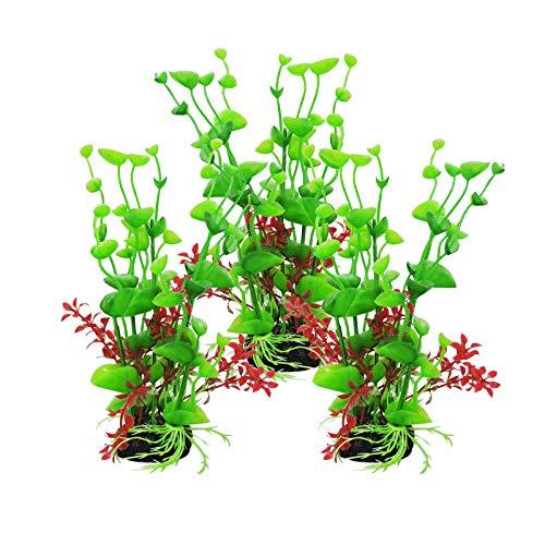 FuninCrea Plantes d'ornement pour Aquarium, Plantes pour Petit Réservoir de Poisson, Décorations de Plantes pour Aquarium de 3 pièces, Convenable à la Maison/au Bureau/à l'Aquarium (Vert)