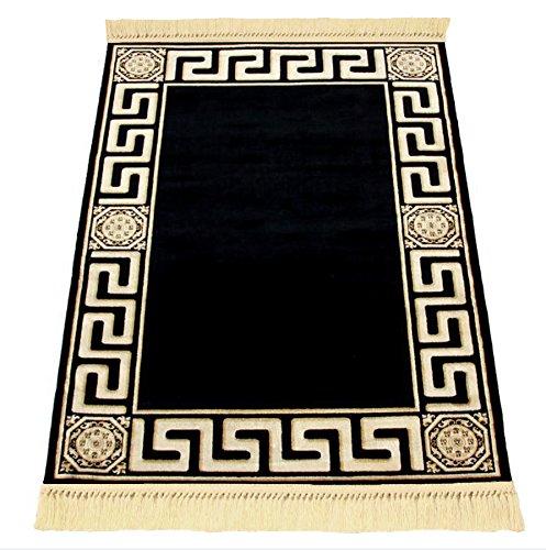 Belle Arti Möbel & Accessoires Luxuriösier Teppich Schwarz Kunstseide Mäander/Meander Medusa Carpet versac (200 x 280 cm, Black)