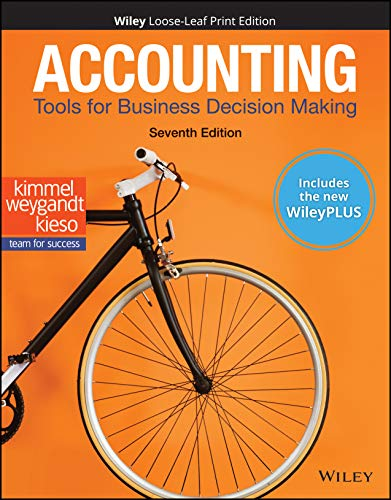 Compare Textbook Prices for Accounting: Tools for Business Decision Making, WileyPLUS NextGen Card with Loose-leaf Set Single Semester: Tools for Business Decision Making 7 Edition ISBN 9781119659891 by Kimmel, Paul D.,Weygandt, Jerry J.,Kieso, Donald E.