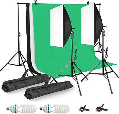 MVPower 2 x 3m Softbox Fotografia Illuminazione Kit,Viene Fornito Con Sfondo di Mussola di Cotone 1,6 x 2 m(Nero/Bianco/Verde)Kit Softbox e Staffa,per Ritratti,Fotografia di Prodotti,Produzione Video