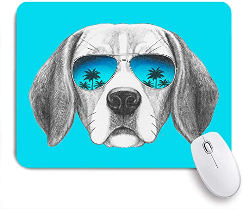 Decorative Gaming Mouse Pad,Portrait of Beagle Dog with mirror sunglasses Hand drawn,Office Computer Mouse Mat with Non-Slip Rubber Base