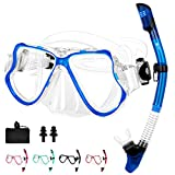JARDIN Dry Snorkel Set, Panoramic Wide View Snorkel Mask, Anti-Fog Tempered Glass Diving Mask, Free Breathing& Easy Adjustable Strap Scuba Mask, Professional Snorkeling Gear for Adults