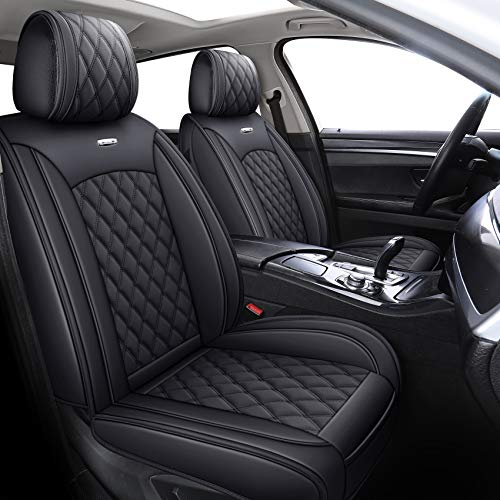 YIERTAI Car Seat Covers Full Set Waterproof Leather Fit for Honda Civic Nissan Versa Altima Toyota RAV4 Camry Highlander Accent Elantra Santa fe Accord Corolla Sentra Kia Forte(Full Set, Black)