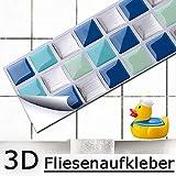 Grandora Set de 4 Pegatinas 25,3 x 5,4 cm Azulejos Azul Turquesa Plata Mosaico I 3D Autoadhesivo Cocina Baño Pared y baldosas Decoración Foil Vinilo Decorativo W5195