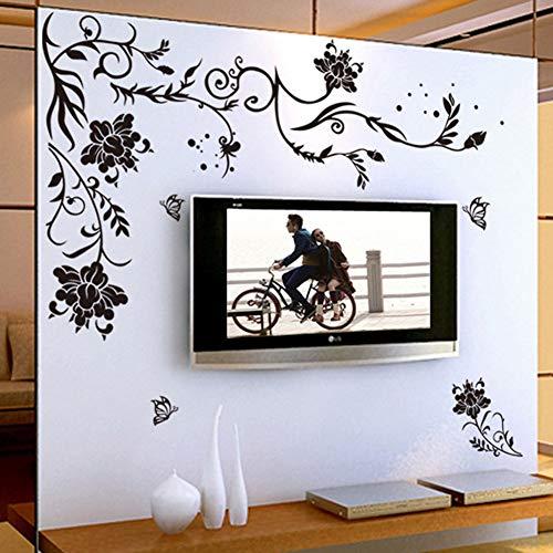 HALLOBO® XXL Wandtattoo Blumenranke Schwarz Rebe Wandaufkleber Schmetterlinge Wandsticker Wall Sticker Wohnzimmer Schlafzimmer Deko