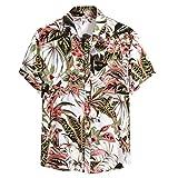 Aoogo Herren Hawaiihemd 3D Gedruckt Muster Kurzarm Blumendruck Freizeit Hemd Button Down Graphic Hemden Shirts