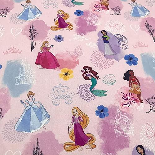 Kt KILOtela Tela popelín Estampada Digital - 100% algodón - 150 cm Ancho - Largo a elección de 50 en 50 cm - para decoración y Ropa de Vestir | Princesas - Rosa