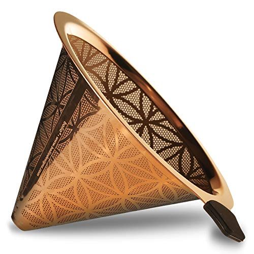Titan Stahl wiederverwendbar Konus Kaffee Filter mit eleganten Blume des Lebens Karomuster No. 4 gold