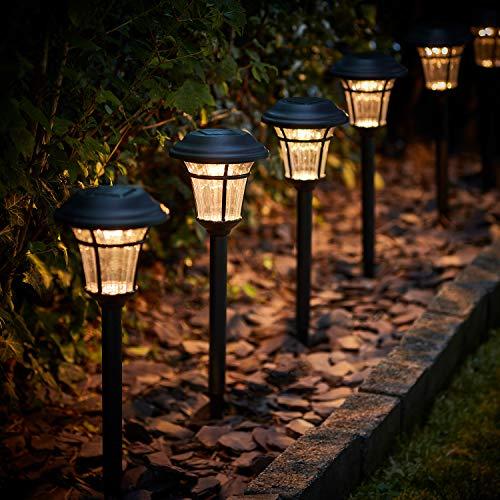 Lights4fun 6er Set LED Solarleuchten Solar Gartenleuchten warmweiß