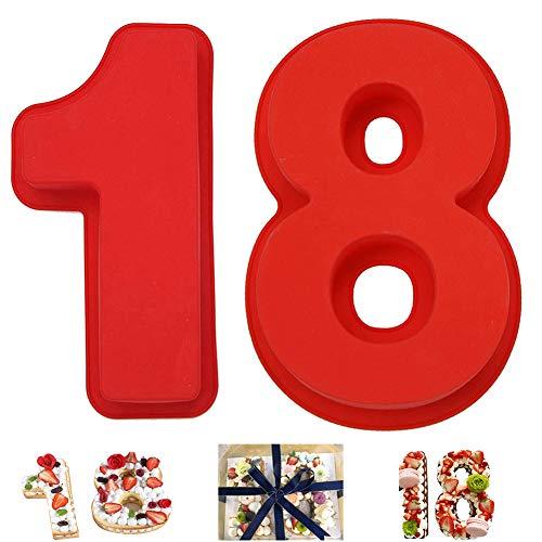 Kuchenform Silikon,Zahlen Kuchenform Backform,Zahlen 18 Zahlen Backformen Kuchenformen,Number cake Backform Set für Geburtstag, Hochzeit, Jahrestag Tortendekoration