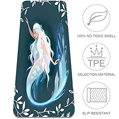 Mermaid Yoga Mat Non-Slip 8MM Thick Yoga Mat TPE Friendly Eco Exercise Mat Pad for Home Gym Fitness Workout Pilates, 72'' x 32''