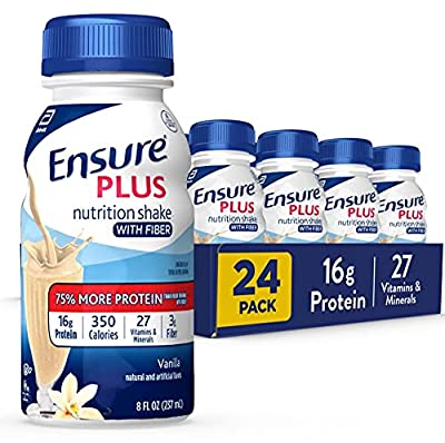Ensure Plus Nutrition Shake with Fiber, 24 Count, 16 Grams of High-Quality Protein, Meal Replacement Shake, Vanilla, 8 Fl Oz by EAS, Inc