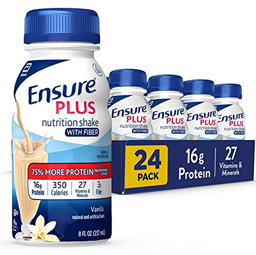 Ensure Plus Nutrition Shake with Fiber, 24 Count, 16 Grams of High-Quality Protein, Meal Replacement Shake, Vanilla, 8 Fl Oz