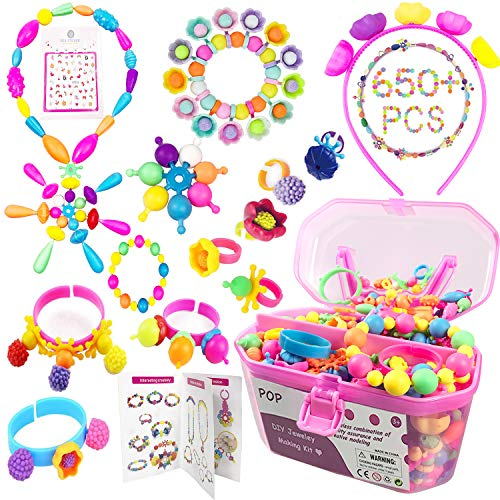 Kids Pop Beads Art & Crafts Kit 650+Pcs DIY Jewelry Making Kit for Toddlers 3, 4, 5, 6, 7, 8 Year Old to Make Hairband, Necklaces, Bracelets, Rings Creativity Christmas Birthday Gifts for Girls Boys