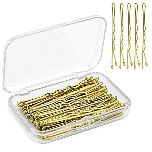 AIEX 50-teiliges Haarnadel-Kit Haarspangen Bobby-Pins Mit Sicherem Halt, Haarspangen Für Frauen Mädchen Und Friseursalon (Gold)