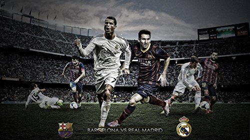 Lionel Messi and Cristiano Ronaldo FC Barcelona Real Madrid Football A1 Size Glossy Poster 33 x 24 inch