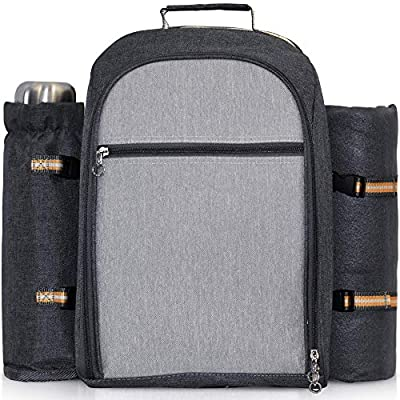 scuddles Picnic Backpack-Picnic Basket for 4 person with Insulated Cooler Compartment-Detachable Bottle/Wine Holder-Waterproof Blanket and Full Cutlery Set (4 Person)