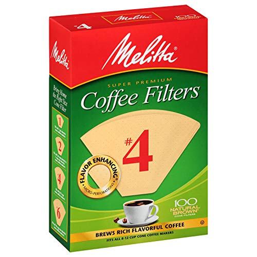 Melitta #4 Cone Coffee Filters, Natural Brown, 100 Count (Pack of 6)