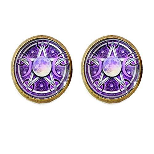 Hermosos pendientes de pentagrama de triple luna púrpura Wiccan Jewelry Art Nouveau hermosos regalos