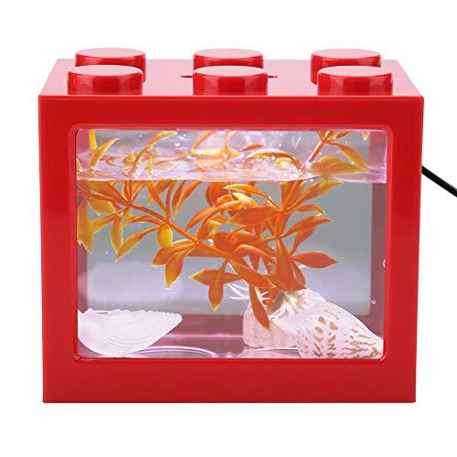 Acuario Tanque de Peces Decorativo Mini Acuario USB LED Lámpara de Luz Tanque de Pescado Lámpara de Escritorio Tanque de Pescado para Caja de Oficina Mesa de Té Decoración(Rojo) 🔥