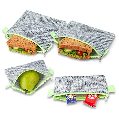 Nordic By Nature 4 Pack - Reusable Sandwich Bags Dishwasher Safe BPA Free - Durable Washable Quick Dry Cloth Baggies -Reusable Snack Bags For Kids School Lunches - Easy Open Zipper GreyNeon Green