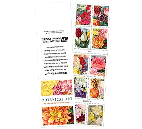 10 Botanical Art USPS Forever First Class Postage Stamps Beautiful Flower Bloom