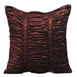 The HomeCentric Decorative Pillow Covers, Chocolate Brown 20x20 inch (50x50 cm) Gathered Fabric Pattern Decorative Pillow Covers, Solid Color Pillow Covers - Chocolate Brown Beauty