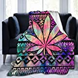 Yonjiq Colorful Weed Leaf Texture Flannel Sherpa Throw Soft Plush Flannel Blanket Throws for Bed/Couch/Sofa/Office/Camping 50' x40
