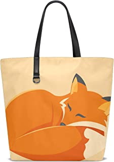 XiangHeFu Damen Handtaschen Schlafender Fuchs Polyester Stoff Schultertasche