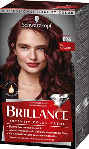 Brillance Intensiv-Color-Creme Haarfarbe 876 Edel-Mahagoni Stufe 3, 3er Pack(3 x 160 ml)