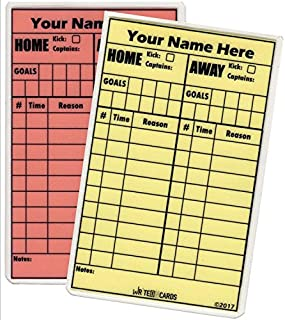 Soccer Write-on Referee Cards, Personalized with your name,