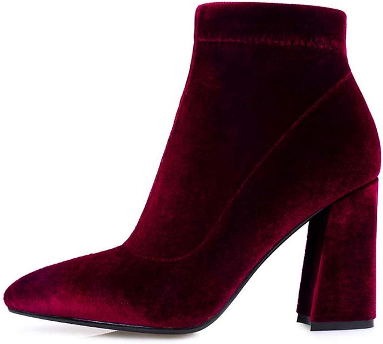 T-JULY Female Velvet Autumn Boots Lady Sexy Hoof High Heel Charming Ankle Boots Female Winter Side Zipper Footwear
