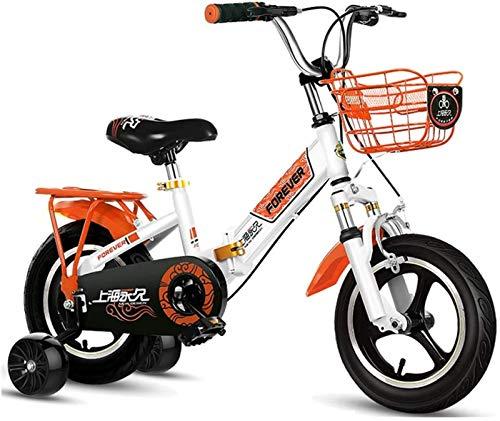 JHNEA Bicicleta Infantil para niños y niñas a Partir de 2-12 años, Bici 12 14 16 18 Pulgadas con Frenos Ruedas auxiliares Bicicleta para niños Bicicleta de Niño,Orange_16'