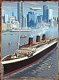 Placa de metal de pintura de estaño, póster de barco de vapor Nueva York, cartel vintage retro para decoración de la pared del acuario del hombre, 20 x 30 cm
